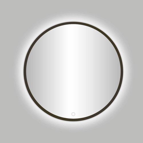 Badkamerspiegel Best Design Venetië Moya LED Verlichting 80x80 cm Rond Gunmetal