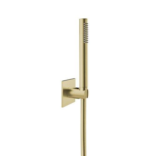 Badset Herzbach Living Spa PVD-Coating met Vierkant Rozet 160 cm Messing Goud