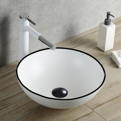 Opbouw Waskom Boss & Wessing Raja 40x33x15 cm Glanzend Wit met Zwarte Lijn