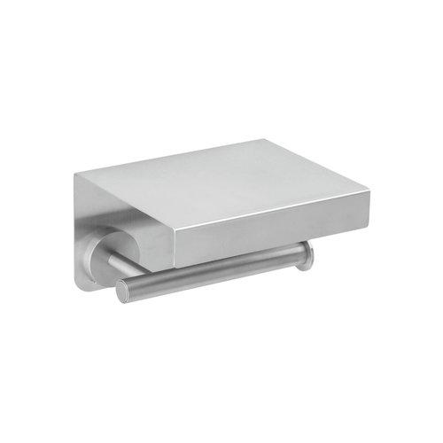 Toiletrolhouder met Deksel Herzbach Living Spa Rond Design Mat Geborsteld RVS