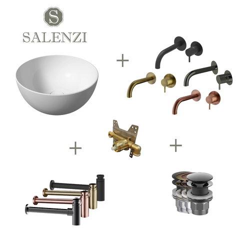 Salenzi Waskomset Unica Round 40x20 cm Mat Wit (Keuze uit 4 Kleuren Kranen)