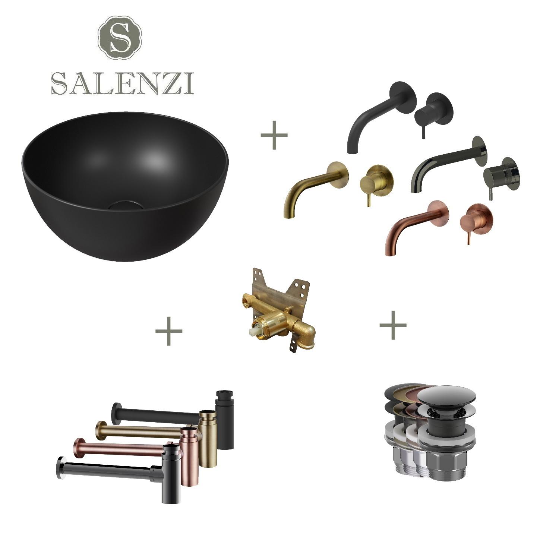 Salenzi Waskomset Unica Round 40x20 cm Mat Zwart
