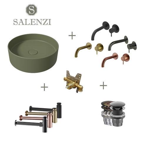 Salenzi Waskomset Hide Circle 40x12 cm Mat Legergroen (Keuze Uit 4 Kleuren Kranen)