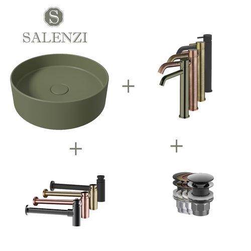 Salenzi Waskomset Hide Circle 40x12 cm Incl Hoge Kraan Mat Legergroen (Keuze Uit 4 Kleuren Kranen)