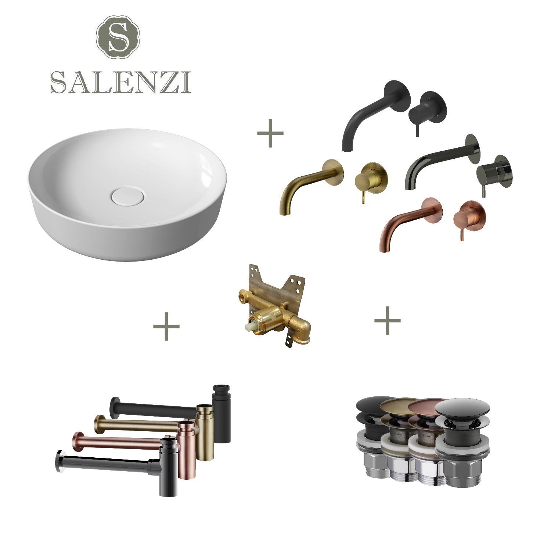 Salenzi Waskomset Form 45x12 cm Mat Wit