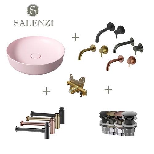 Salenzi Waskomset Form 45x12 cm Mat Roze (Keuze Uit 4 Kleuren Kranen)