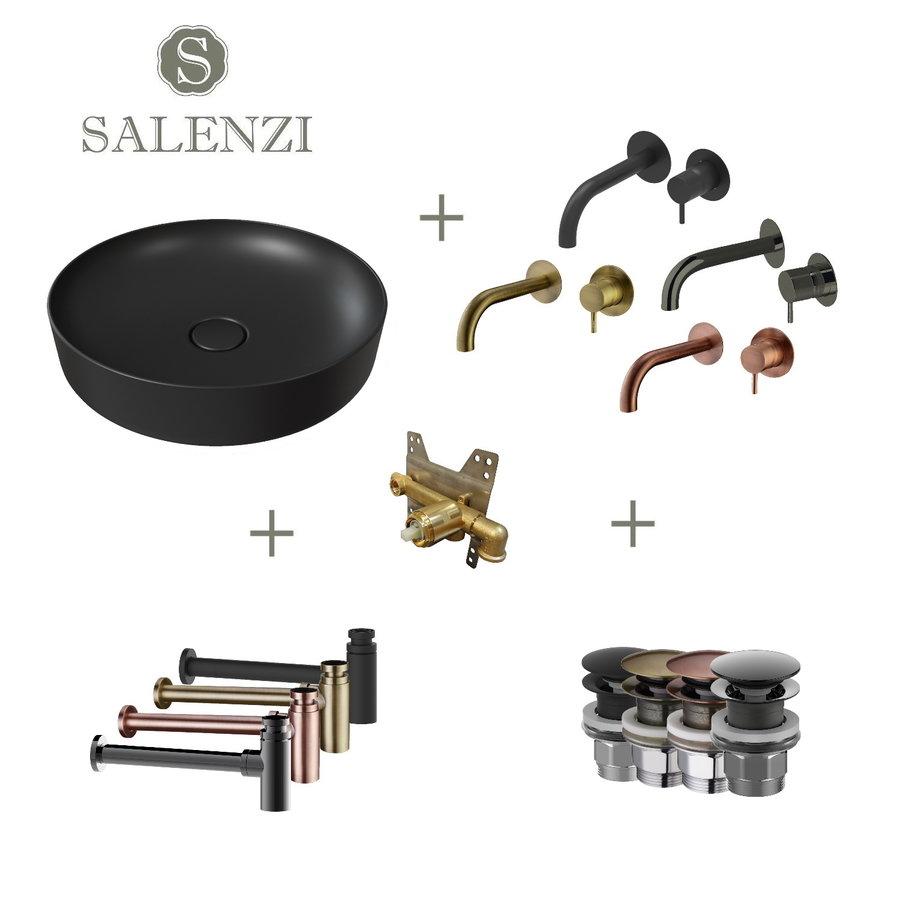 Salenzi Waskomset Form 45x12 cm Mat Zwart (Keuze Uit 4 Kleuren Kranen)
