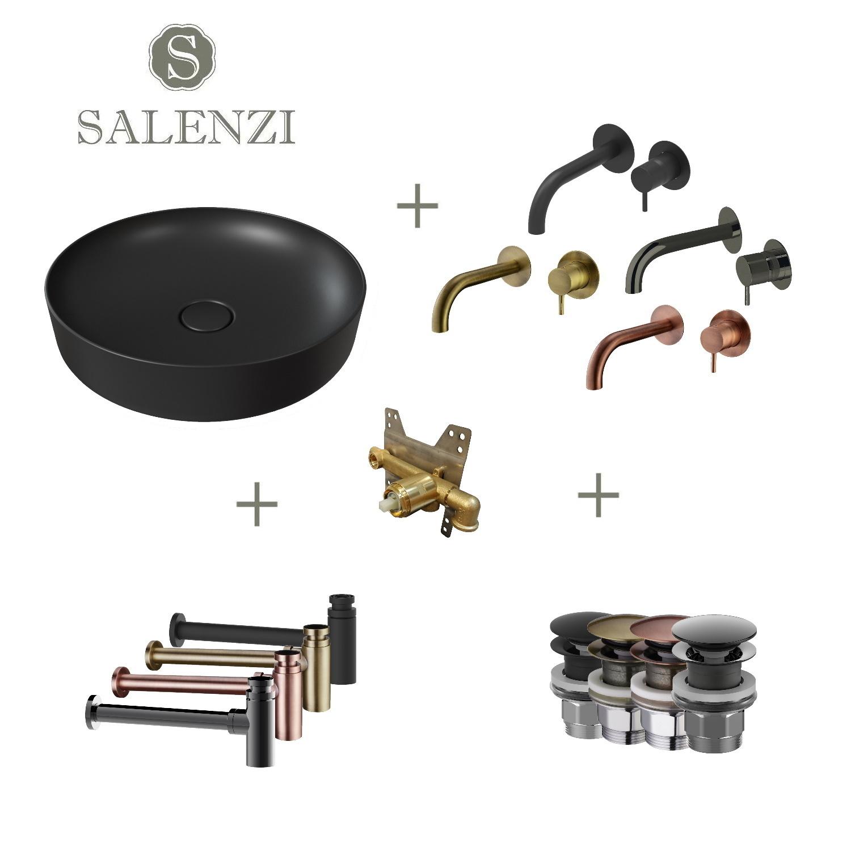Salenzi Waskomset Form 45x12 cm Mat Zwart