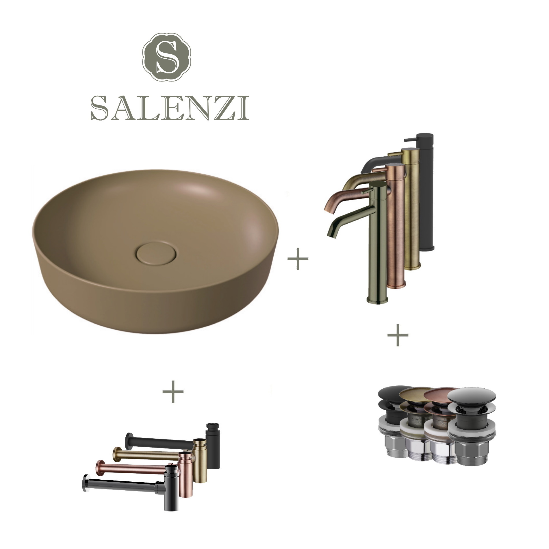 Salenzi Waskomset Form 45x12 cm Incl Hoge Kraan Mat Beige