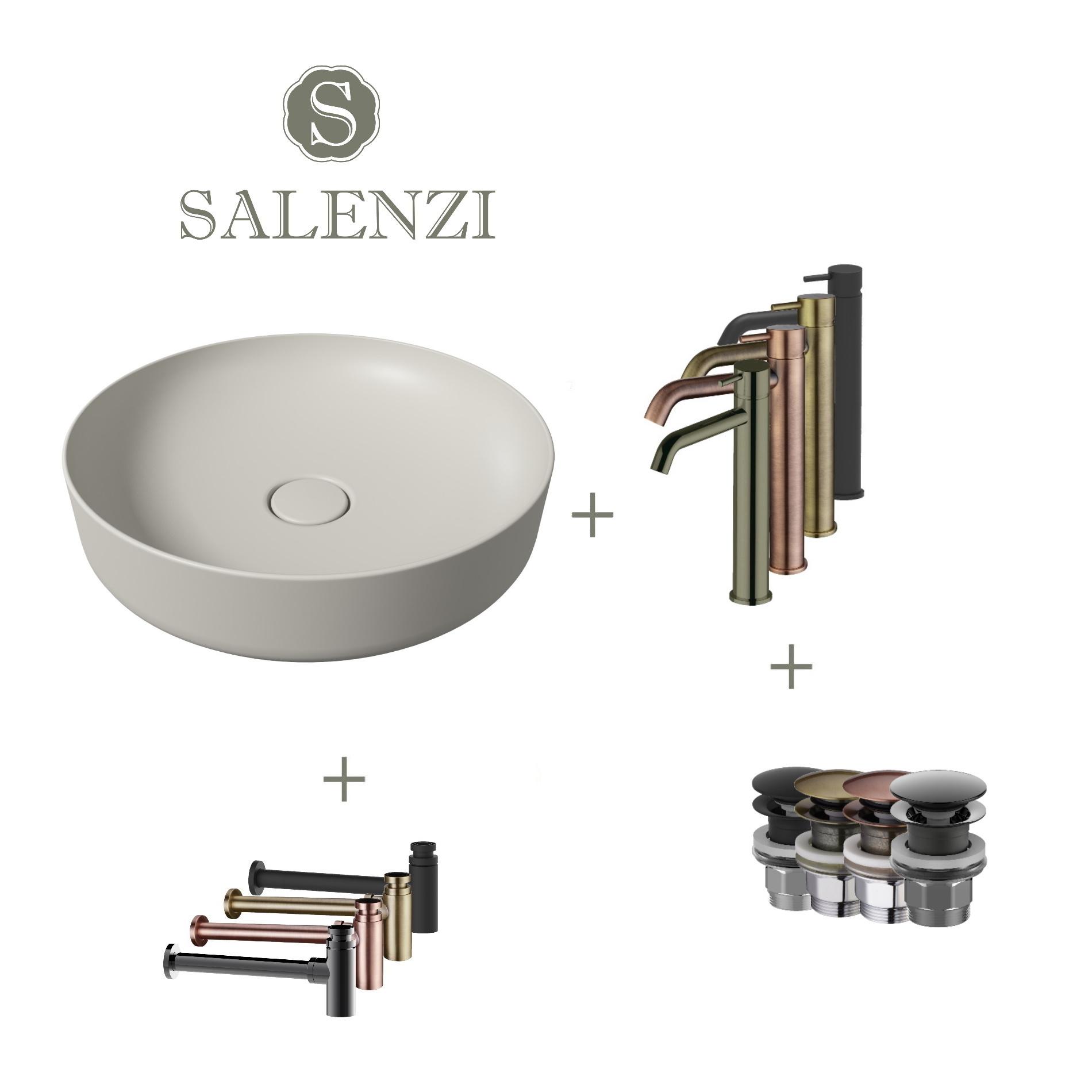 Salenzi Waskomset Form 45x12 cm Incl Hoge Kraan Mat Grijs