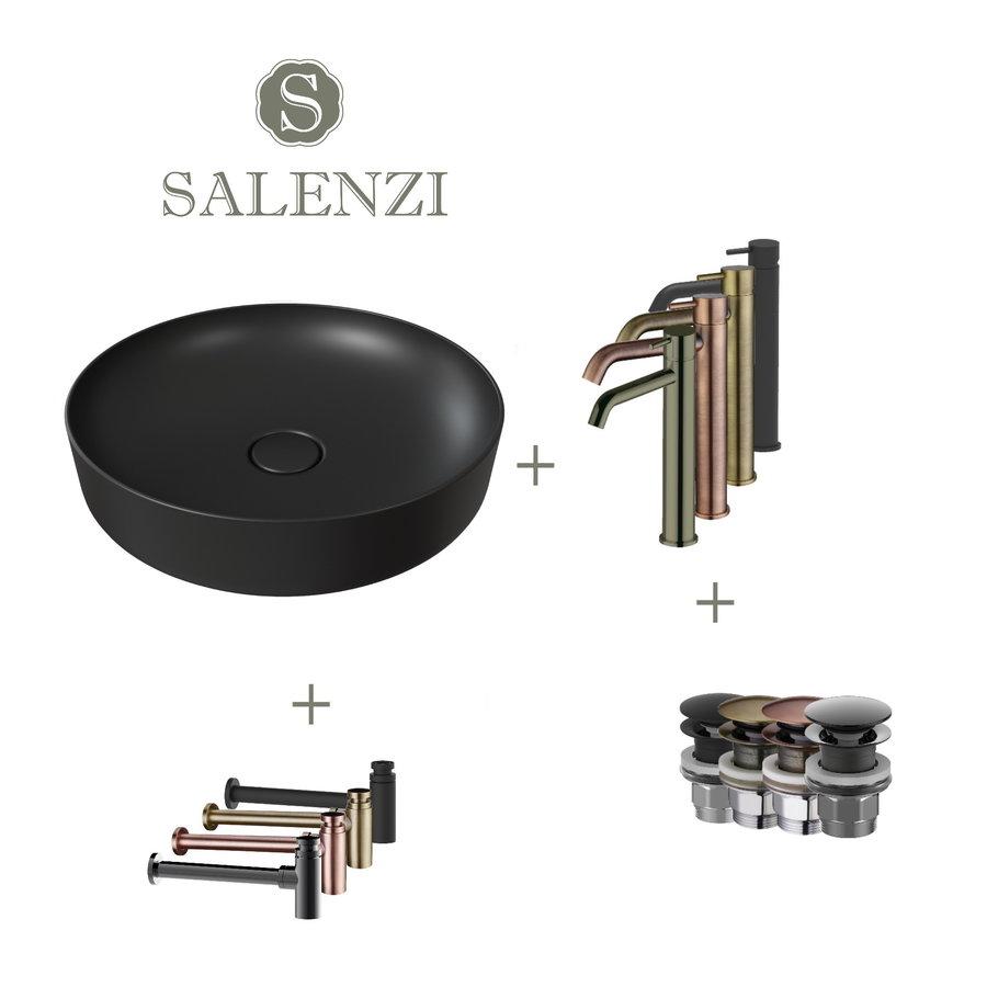 Salenzi Waskomset Form 45x12 cm Incl Hoge Kraan Mat Zwart (Keuze Uit 4 Kleuren Kranen)