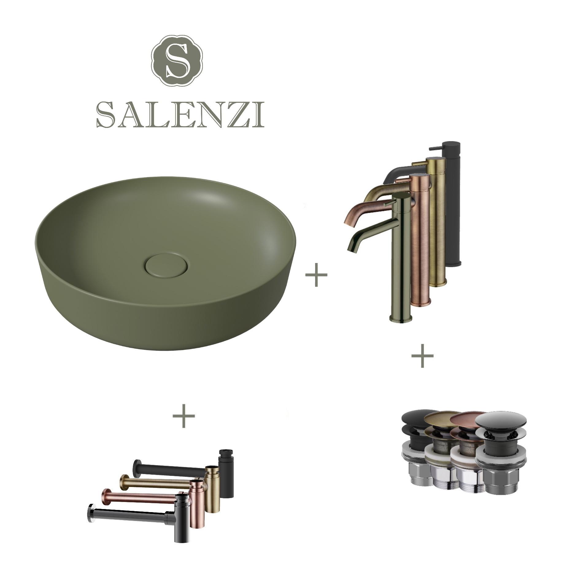 Salenzi Waskomset Form 45x12 cm Incl Hoge Kraan Mat Legergroen