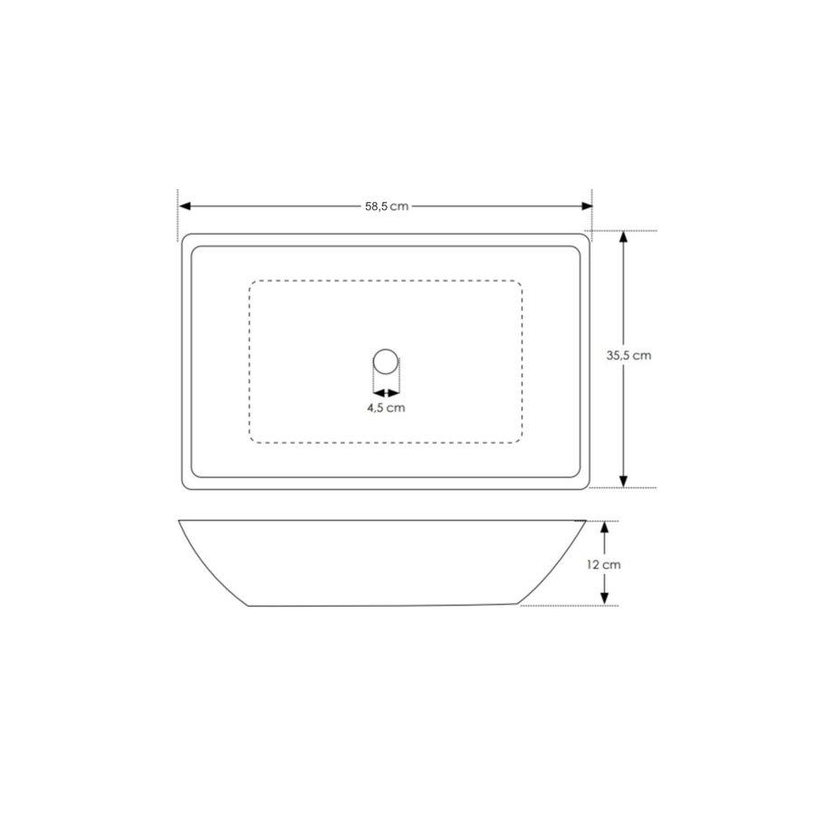 Waskom Opbouw Salenzi Beton 59x34x13 cm Rechthoekig Mat Grijs