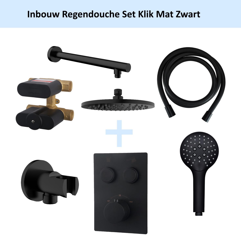 Wiesbaden Inbouw Regendouche Set Klik 2-Wegs Mat Zwart