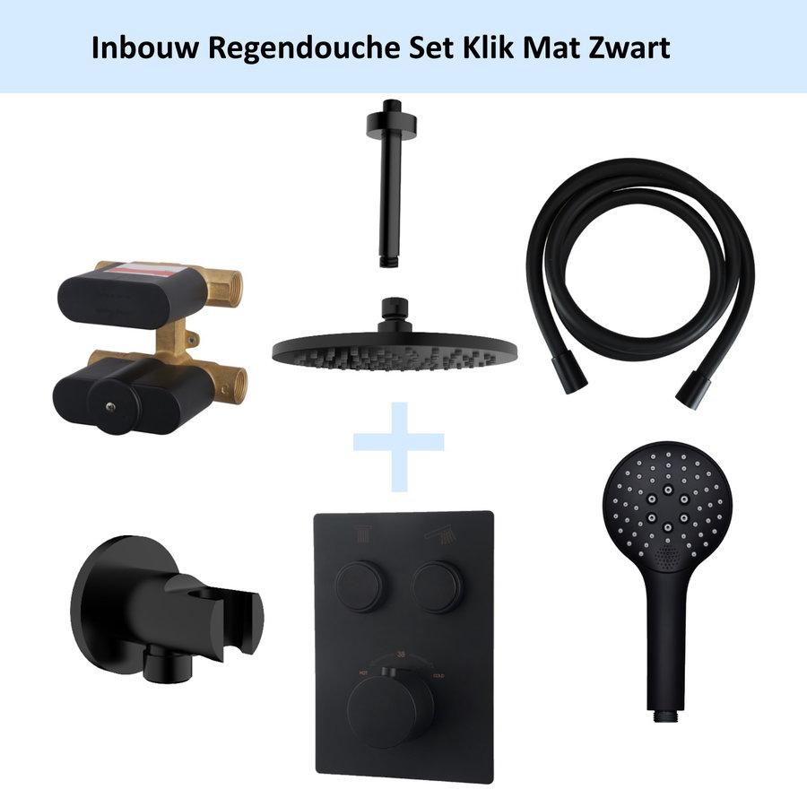 Inbouw Regendouche Set Klik 2-Wegs Mat Zwart (Plafonduitloop)