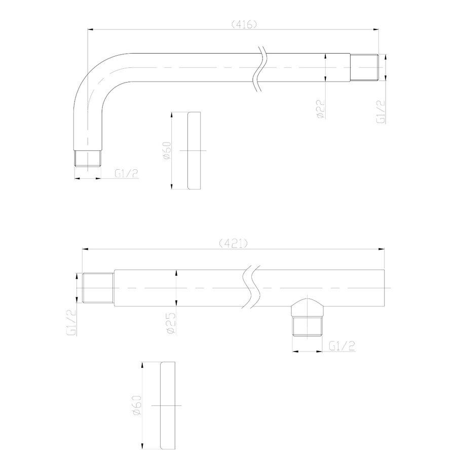 Inbouw Regendouche Set Klik 2-Wegs RVS (Muuruitloop)