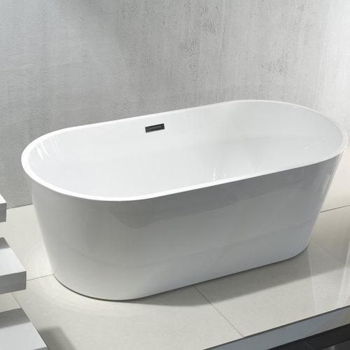 Vrijstaand Ligbad Aloni Rondo Acryl 180x80x60 cm Hoogglans Wit met Afvoer