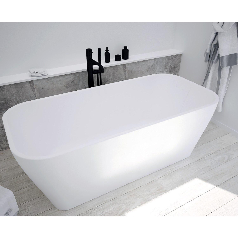 Ligbad Vrijstaand NJOY Delia 170x81 cm Acryl Mat Wit inclusief Afvoer en Badpotenset Aqua Splash