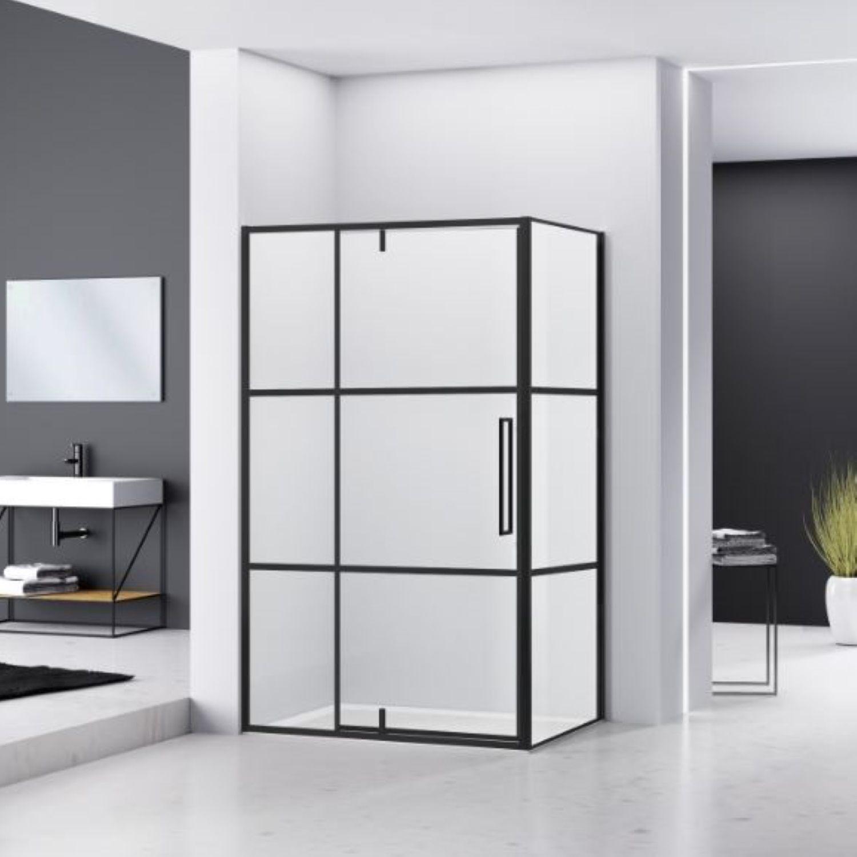 Hoek Douchecabine Van Rijn Zijwand 200x120x100 cm 6 mm Helder Glas Aluminium Zwart van Rijn