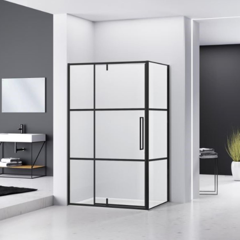Hoek Douchecabine Van Rijn Zijwand 200x120x90 cm 6 mm Helder Glas Aluminium Zwart van Rijn