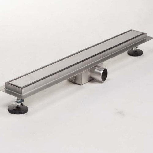 Douchegoot Brauer RVS Geborsteld 90x7 cm Inclusief Tegel Inlegrooster Omkeerbaar