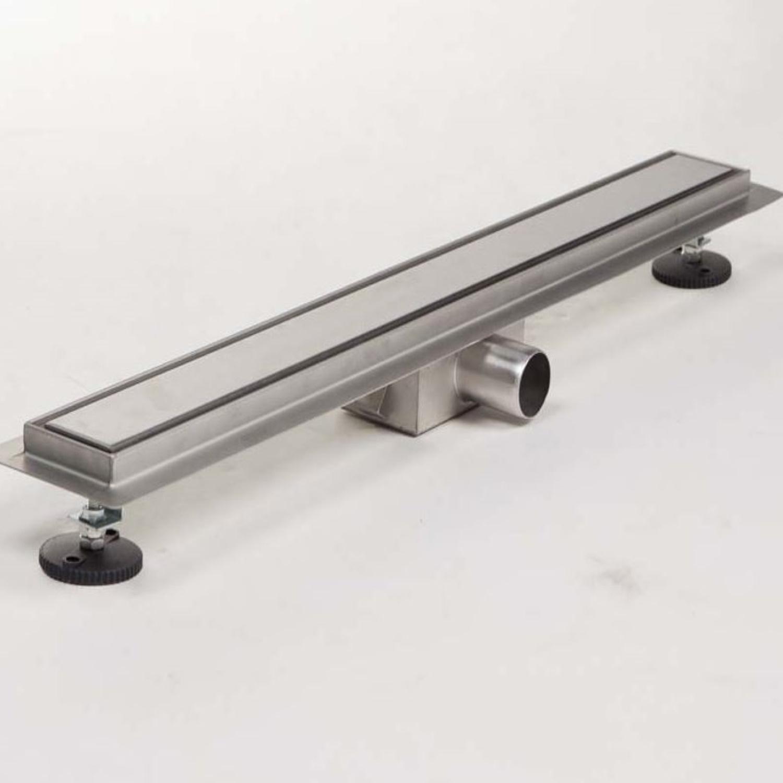 Douchegoot Brauer RVS Geborsteld 90x7 cm Inclusief Tegel Inlegrooster Omkeerbaar Brauer
