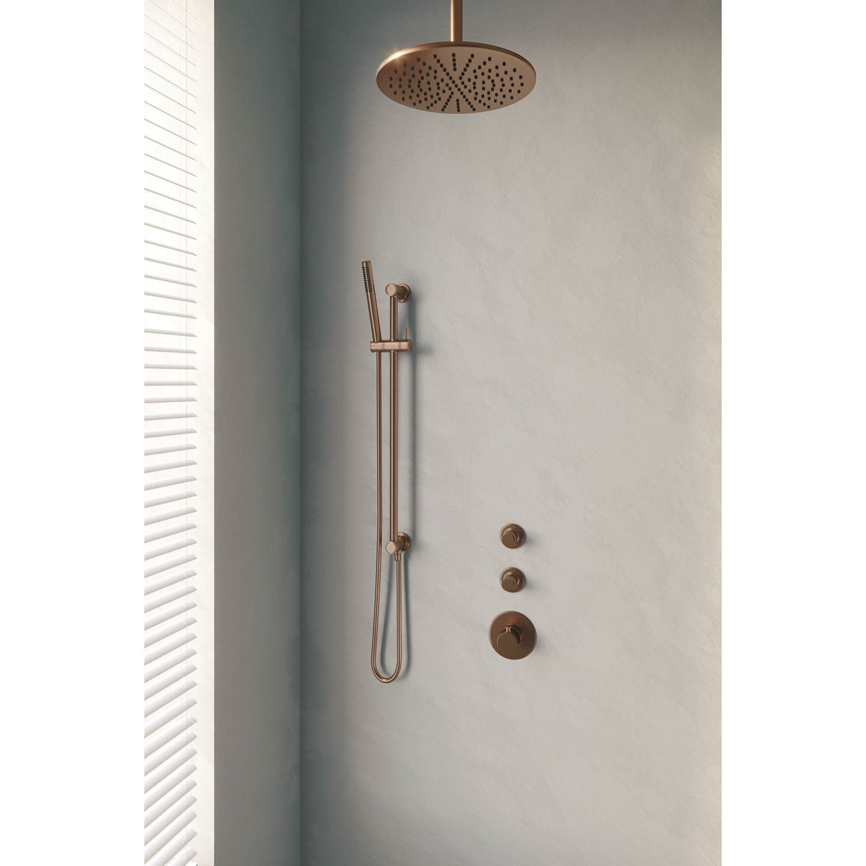 Thermostatisch Inbouwdoucheset Brauer Copper 30 cm Hoofddouche Plafondarm Staafhanddouche op Glijsta