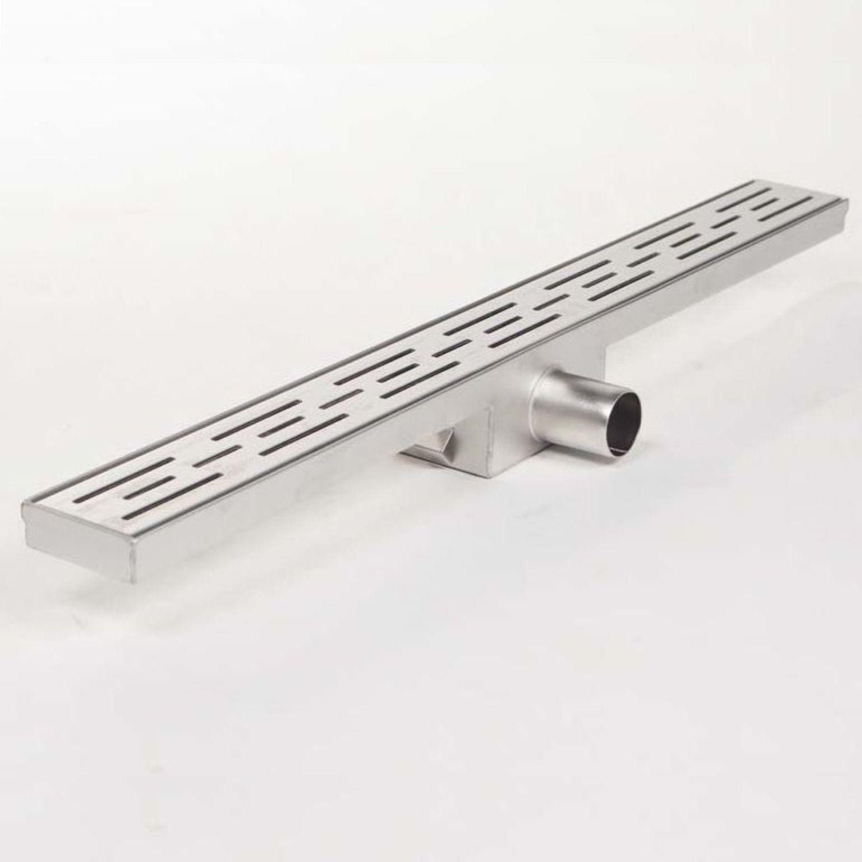 Douchegoot Brauer RVS Geborsteld Zonder Flens 80x7 cm Standaard Rooster Inclusief Kunststof Sifon Br