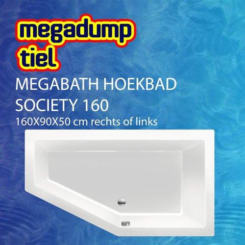 MegaBath Hoekbad Society 160 160X90X50 Cm Rechts/Links Creme Mat
