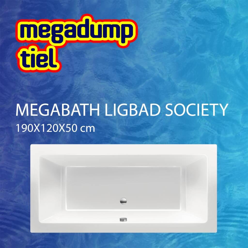 Ligbad Society 190X120X50 cm Edelweiss Gebroken Wit MegaBath