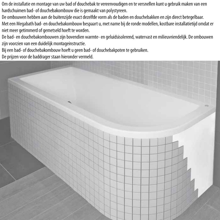 Ligbad Society 190X120X50 Cm Edelweiss Gebroken Wit