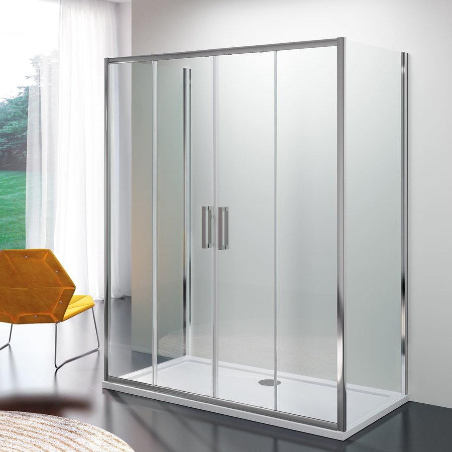Douchecabine Lacus Stromboli met Schuifdeur en Dubbele Zijwand Helder Glas Aluminium Profiel Chroom (alle maten)