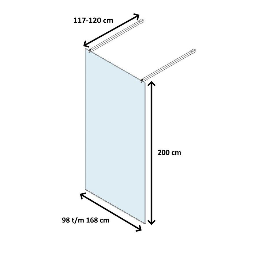 Vrijstaande Inloopdouche Lacus Filicudi Helder Glas Twee Stabilisatiestangen RVS (alle maten)
