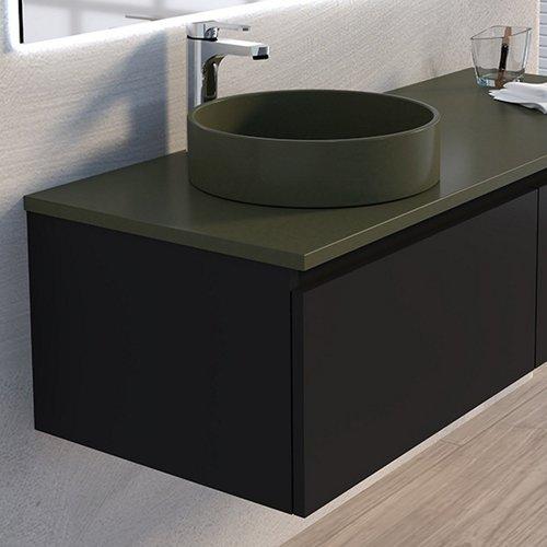 Wastafel Opbouw Boss & Wessing Avignon 37 cm Donker Olijfgroen