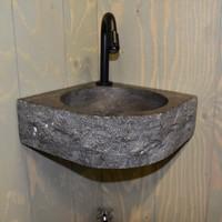 Fontein Boss & Wessing Hoekbevestiging 30x30x10 cm Natuursteen Antraciet