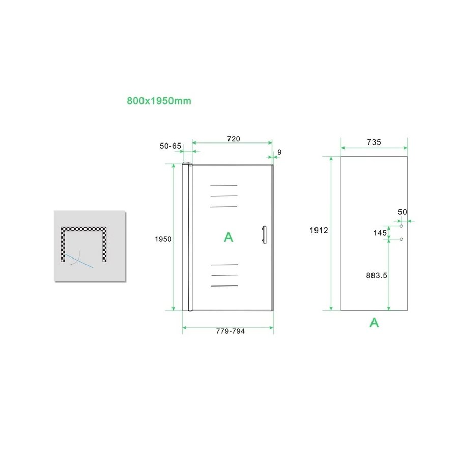 BWS Nisdeur Eco Inclusief Muurprofiel 80x195 cm 6 mm Aluminium