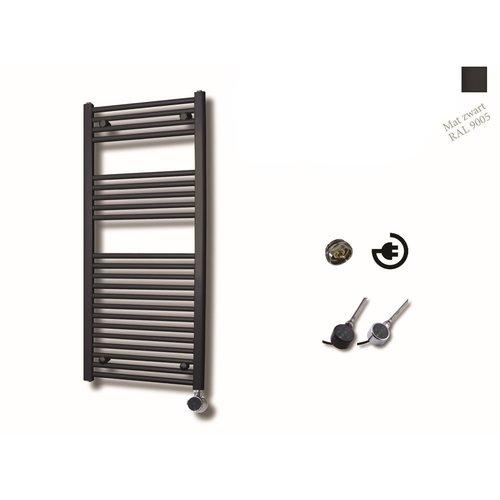 Elektrische Design Radiator Sanicare Plug En Play 111,8 x 60 cm Mat Zwart Thermostaat Zwart 730 Watt