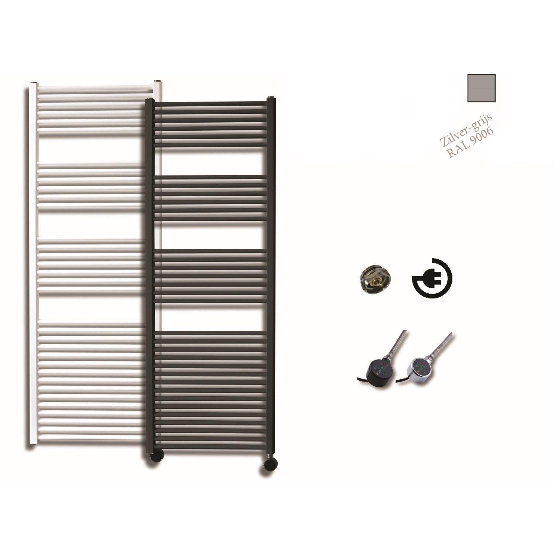 Elektrische Design Radiator Sanicare Plug En Play 172 x 60 cm Zilver Grijs Thermostaat Zwart 1127 Wa