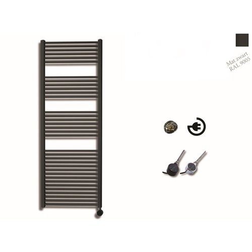 Elektrische Design Radiator Sanicare Plug En Play 172 x 60 cm Mat Zwart Thermostaat Chroom 1127 Watt