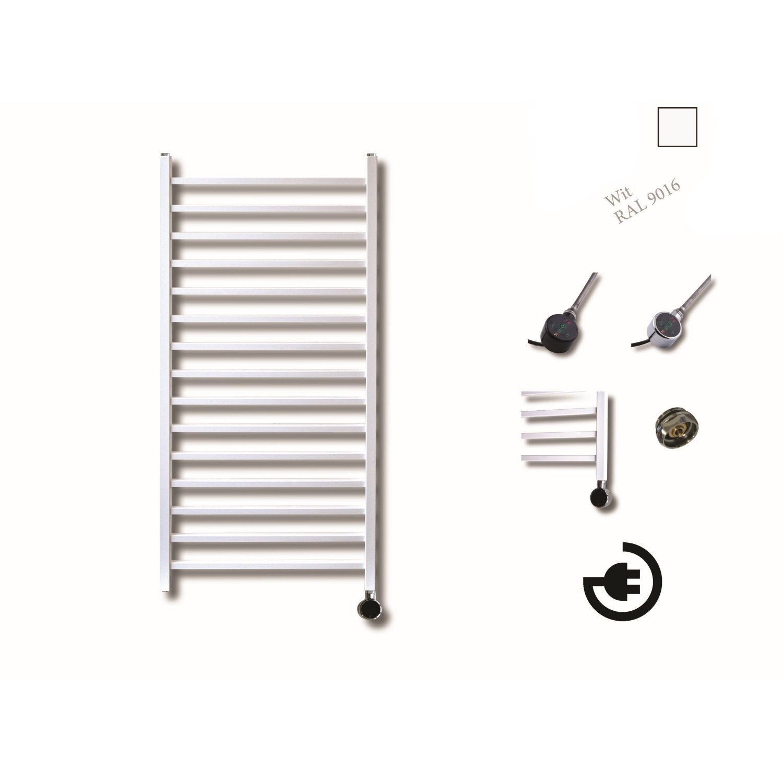 Elektrische Design Radiator Sanicare Plug En Play Qubic 126.4 x 60 cm Wit Thermostaat Zwart 773 Watt
