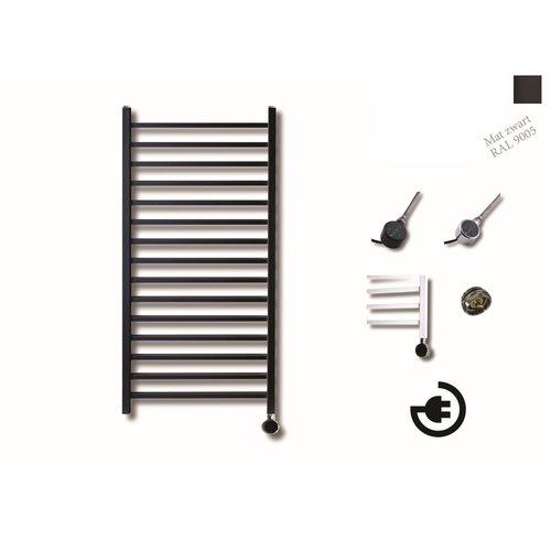 Elektrische Design Radiator Sanicare Plug En Play Qubic 126.4 x 60 cm Mat Zwart Thermostaat Zwart 773 Watt
