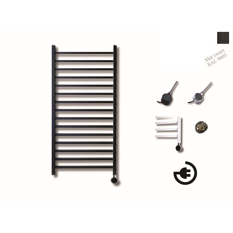 Elektrische Design Radiator Sanicare Plug En Play Qubic 126.4 x 60 cm Mat Zwart Thermostaat Zwart 77