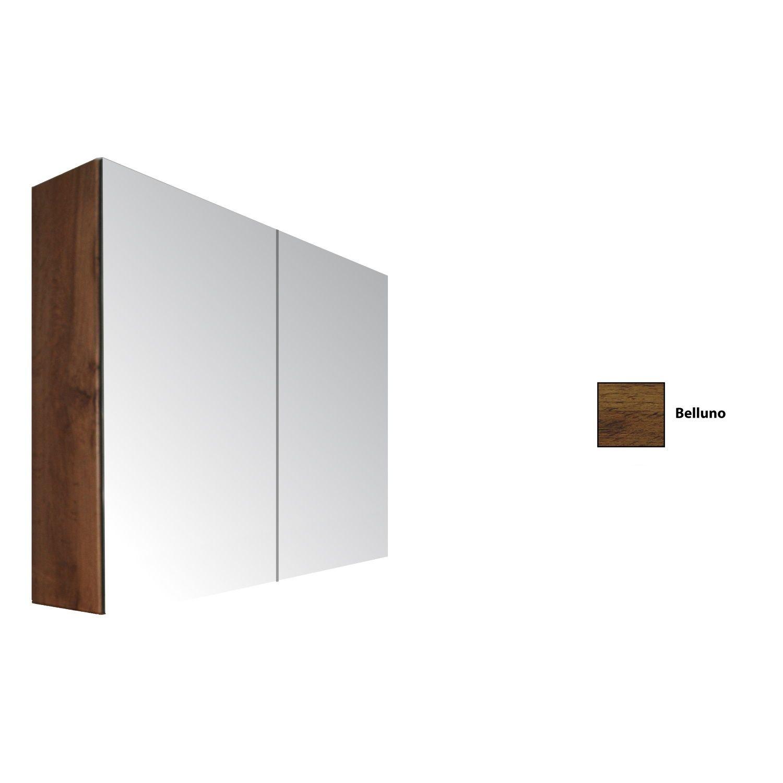 Spiegelkast Sanicare Qlassics 90 cm 2 Spiegeldeuren Belluno Eiken Sanicare