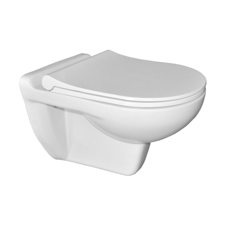Wandcloset Sanicare Inclusief Slim Toiletzitting Keramiek 53,5x36 cm Wit Sanicare