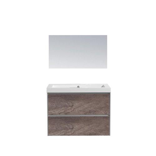 Badkamermeubel Sanilux PL 60 Greeploos Incl Spiegel En Wastafel Century Oak Multiplex 60x47x50 cm