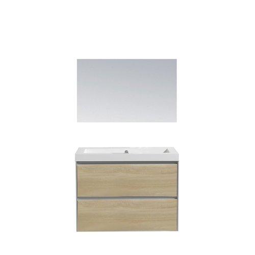 Badkamermeubel Sanilux PL 60 Greeploos Incl Spiegel En Wastafel Light Wood Multiplex 60x47x50 cm