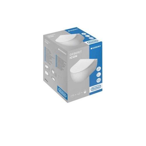 Geberit Wandcloset iCon Pack Diepspoel Rimfree 36.6x53cm Slimseat Closetzitting Softclose Wit