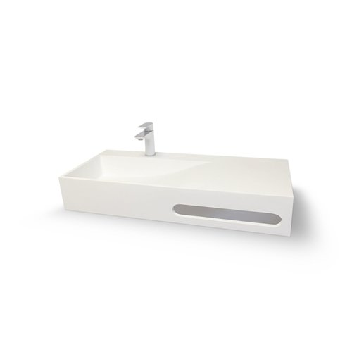 Wand Wastafel Bellezza Bagno Follinica Solid Surface Links 1-gats 90x48x10 cm Mat Wit