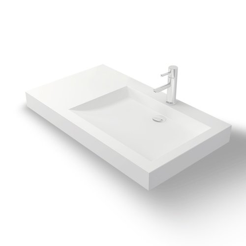 Wand Wastafel Bellezza Bagno Vanezia Solid Surface Links 1-gats 81x45.5x7.5 cm Mat Wit