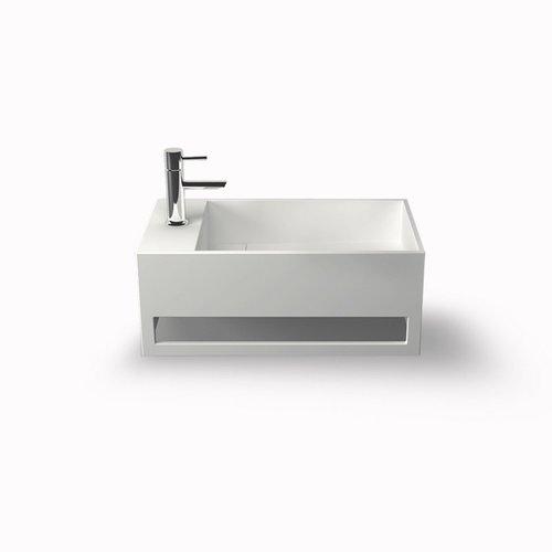 Fontein Bellezza Bagno Orvieto met Handdoekhouder Solid Surface 50x30x20 cm (kraangat links)